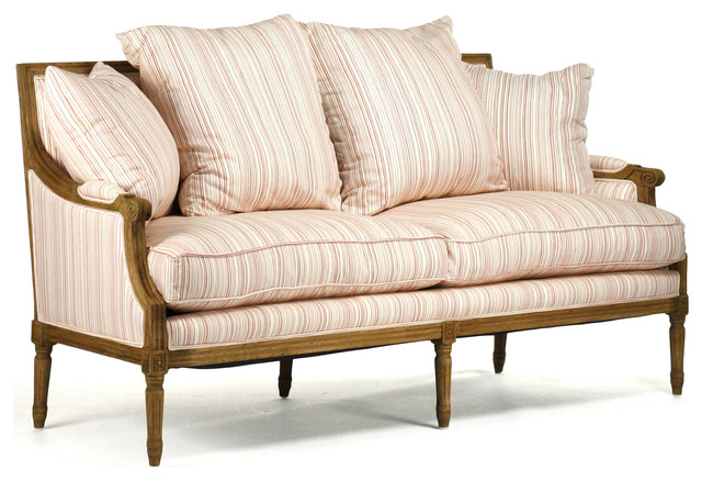 Bon St. Germain French Country Red Stripe Louis XVI Natural Linen Sofa