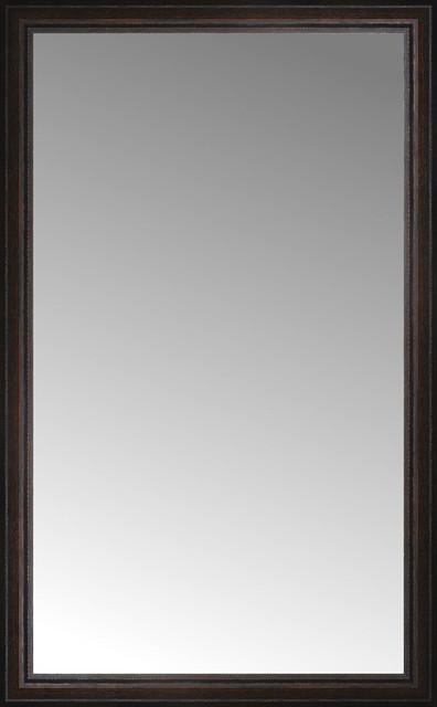 30 X48 Custom Framed Mirror Distressed Brown