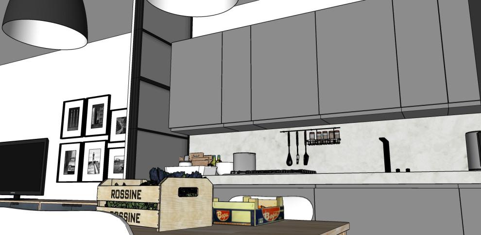 Render_Vista della cucina e, di scorcio, del soggiorno.