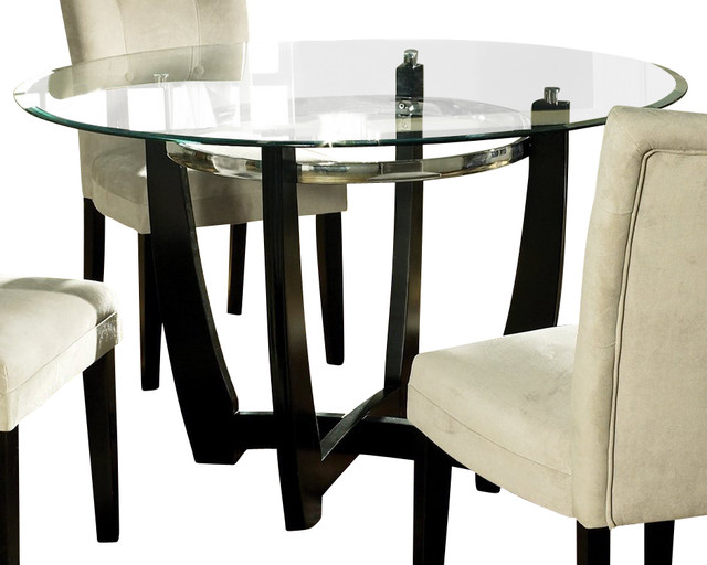 steve silver steve silver matinee glass top 48 inch round dining table dining tables houzz. Black Bedroom Furniture Sets. Home Design Ideas