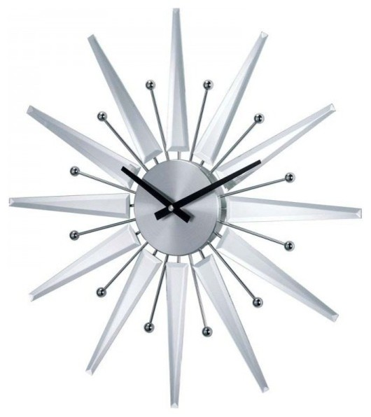 Mirrored Wall Clock george nelson mirrored starburst clock, mirror - midcentury - wall