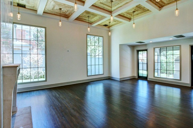 Transitional dark wood floor family room photo in Other with white walls