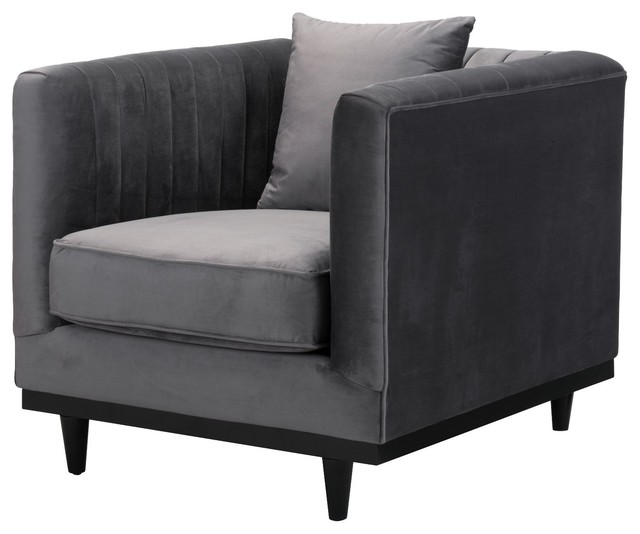 Armchairs And Accent Chairs.Modern Contemporary Armchair Accent Chair Gray Velvet Birch Wood