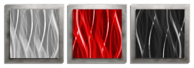 Red Black Silver Essence Edgy Metal Wall Decor Contemporary Metal Wall Art By Modern Crowd