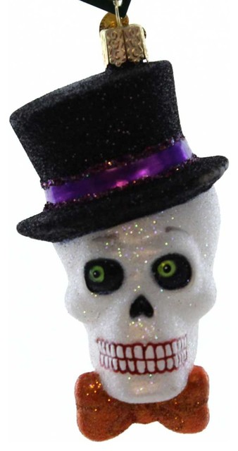 Christmas Top Hat.Old World Christmas Top Hat Skeleton Glass Halloween Spooky 26068