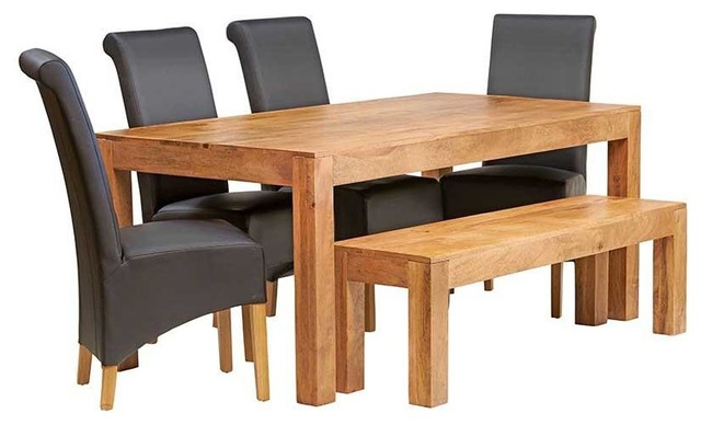 Santiago Light Mango 6-Piece Dining Table Set With Bench, Leather Chairs