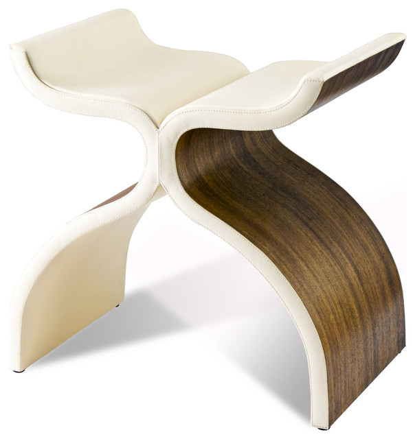 Cluny Modern Sculptural Wood Leather Stool transitional-footstools-and- ottomans  sc 1 st  Houzz & Cluny Modern Sculptural Wood Leather Stool - Transitional ... islam-shia.org