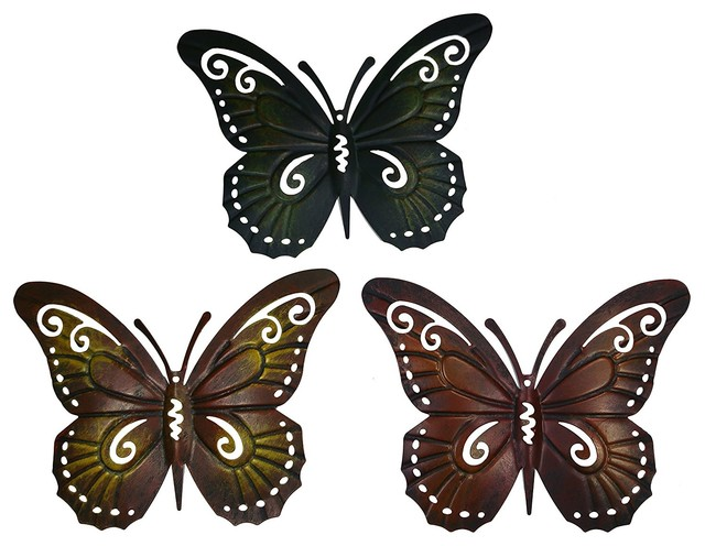 Colored Metal Butterfly Wall Decor, Set Of Three Butterflies Wall Art  Contemporary Outdoor
