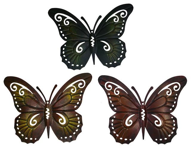 Beautiful Colored Metal Butterfly Wall Decor, Set Of 3 Butterflies Wall Art