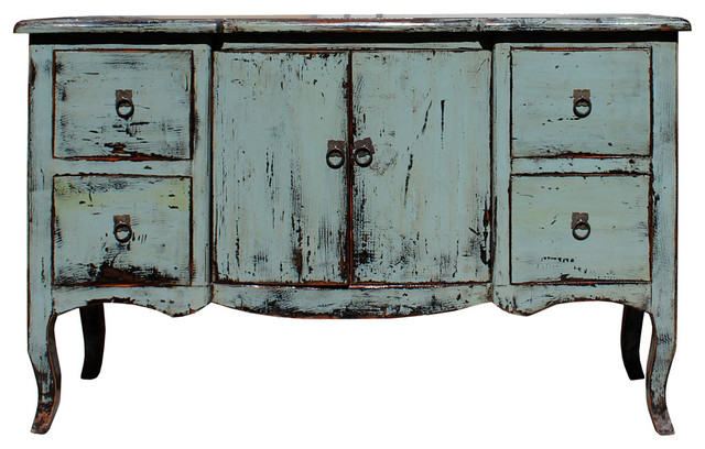 Distressed Gray Blue Credenza Console Side Table Cabinet cs2723 ...