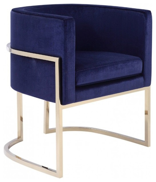 Excellent Modrest Betsy Modern Navy Blue Velvet And Gold Dining Chair Machost Co Dining Chair Design Ideas Machostcouk