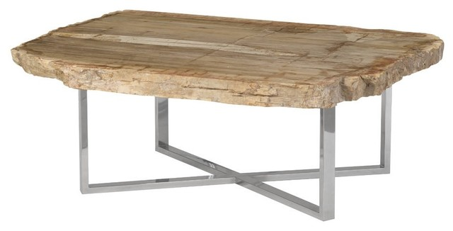 45 Wide Coffee Table Rustic Petrified Wood Modern Brown