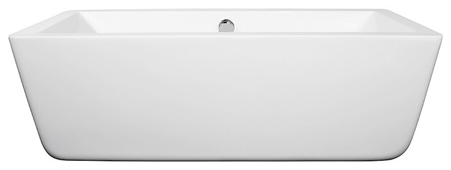 "Laura 67"" Freestanding White Bathtub With Polished Chrome Drain, Overflow Trim."