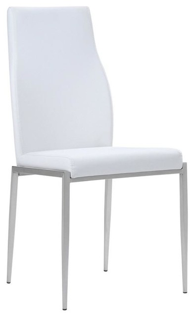 High Back Chairs, White Leather, Set of 2
