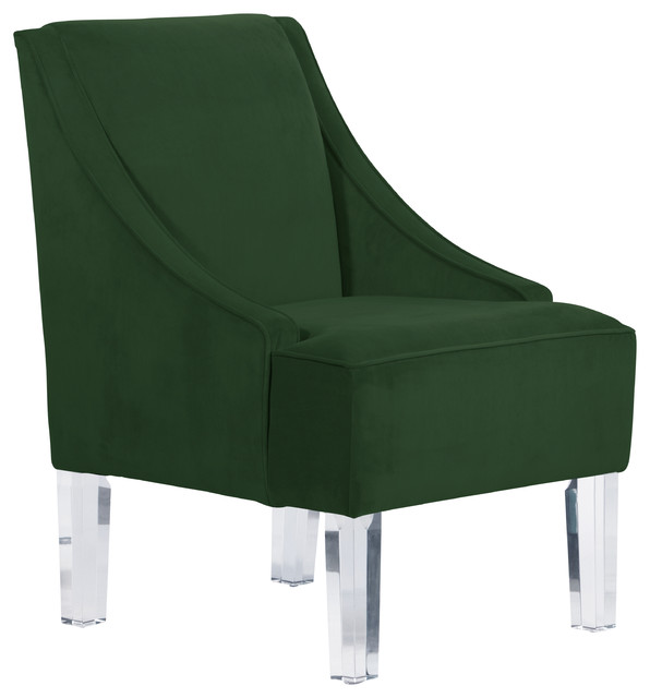 Swoop Arm Chair With Acrylic Legs, Velvet Emerald