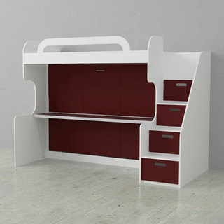 Double Bunk Wall Bed With Storage Steps, Burnt Red