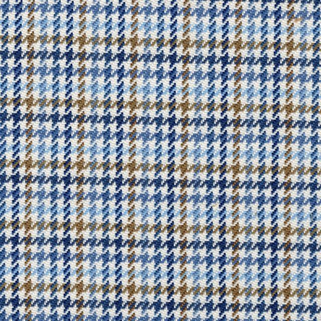 Hamilton Lake Houndstooth Plaid Blue Shower Curtain Cotton Linen