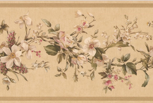 Wallpaper Border Vintage Floral Vine 7 x 15 VC052231B