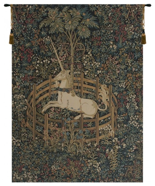 "Unicorn In Captivity Tapestry Wall Tapestry, 36""x50"". -1"