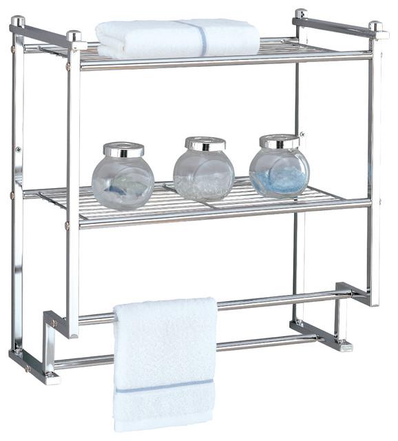 Chrome Towel Rack Wall Mounted Part - 30: Metro 2-Tier Wall-Mounted Rack With Towel Bars, Chrome Transitional-towel