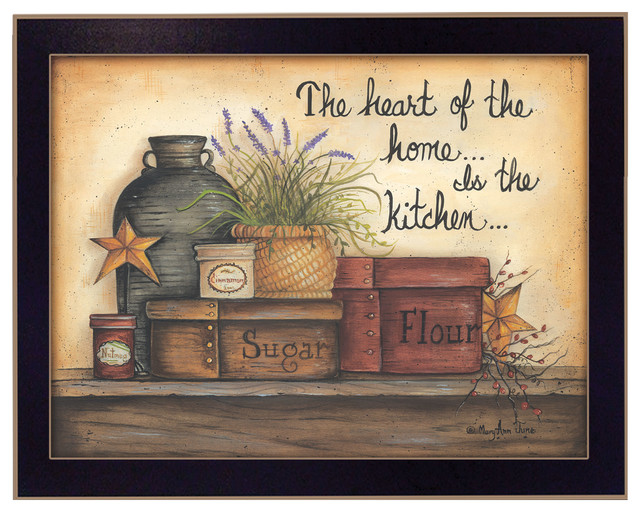 Heart Of The Home By Mary June, Printed Wall Art, Ready To Hang, Black Frame.
