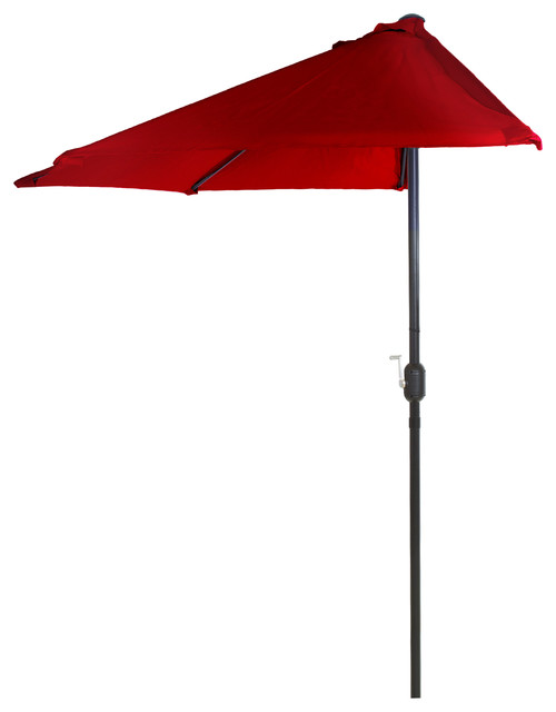 Pure Garden 9&x27; Half Round Patio Umbrella, Red.
