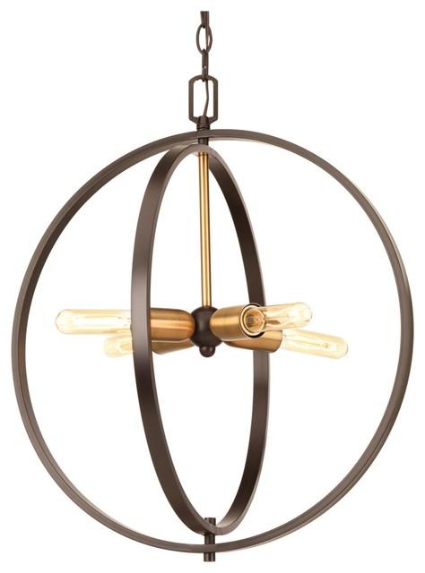 4 Light Standard Bulb Large Pendant In Antique Bronze.