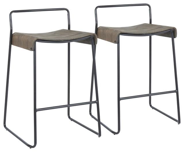 Dali Counter Stool, Set of 2, Black Metal, Espresso Wood