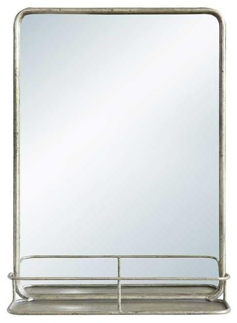 Superb Antique Nickel Finish Metal Pharmacy Mirror With Shelf Interior Design Ideas Ghosoteloinfo