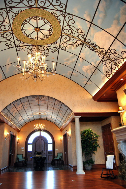Sky ceiling mural and old world plaster finish in a great room for Ceiling mural in smokers lounge