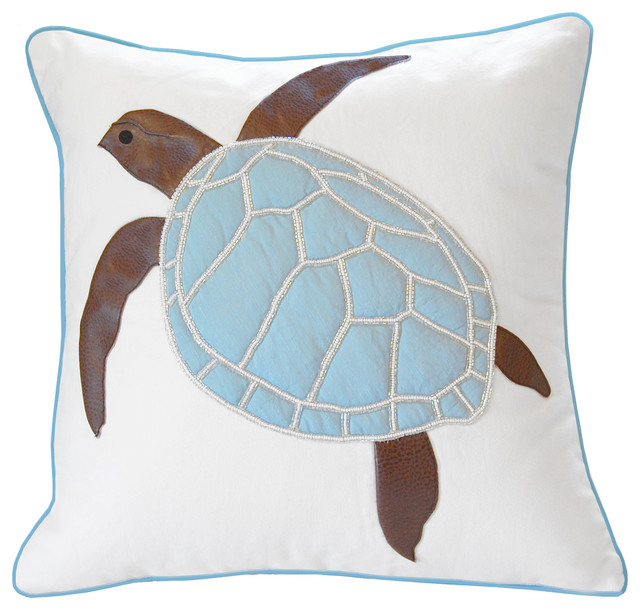Turtle Of The Sea Applique And Beaded Pillow.