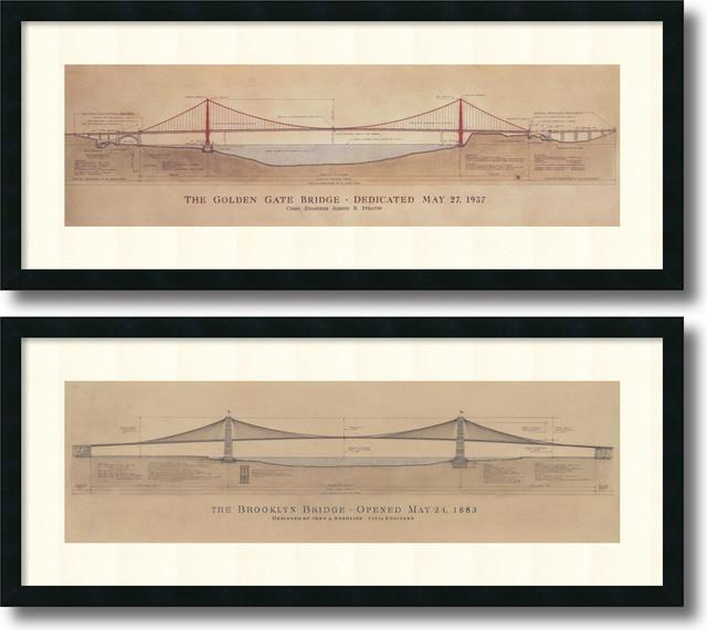 Amanti art craig s holmes golden gate bridge brooklyn bridge craig s holmes golden gate bridge brooklyn bridge framed print set malvernweather Choice Image