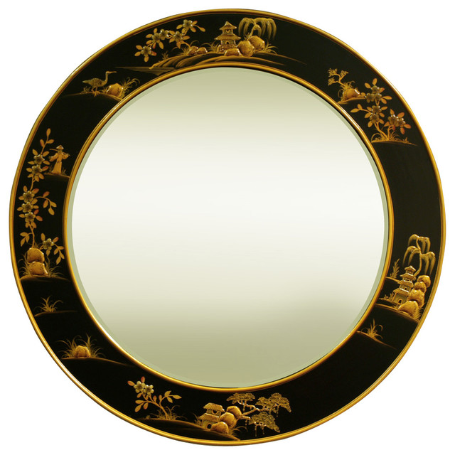 37in Chinoiserie Round Mirror.