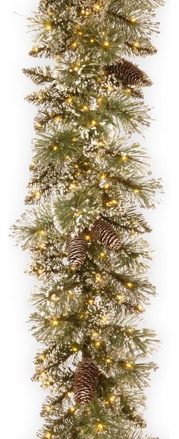"Glittery Bristle Pine Garland With Infinity Lights, 24""."