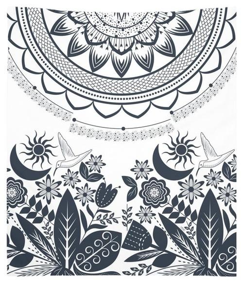 Half Mandala and Secret Garden Tapestry, 68x80
