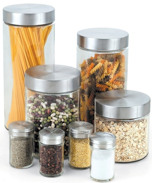 Cook N Home Glass Canister And Spice Jar Set, 8-Piece.