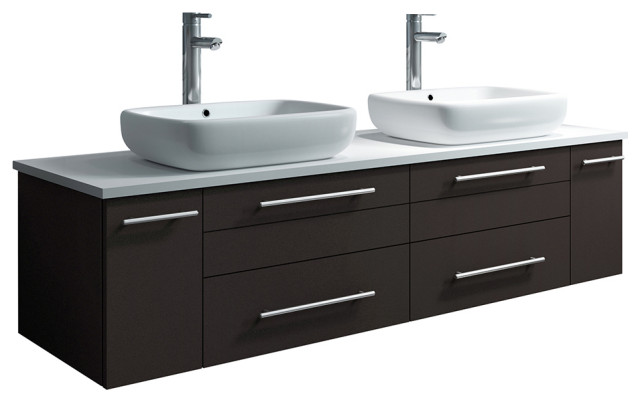 . Lucera Wall Hung Bathroom Cabinet With Top   Double Vessel Sinks  Espresso   60