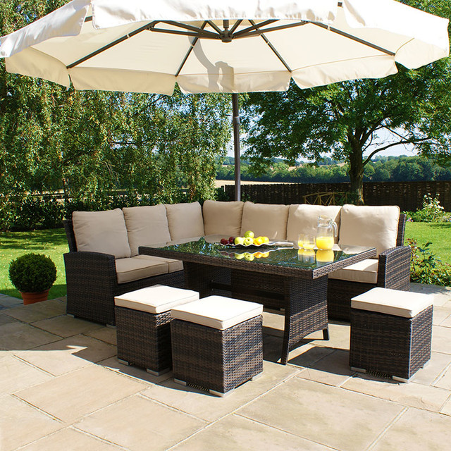 Maze Rattan Kingston Corner Sofa Dining Set Brown Contemporary Outdoor Dining Sets By