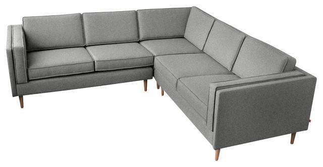 Gus Modern Adelaide Bi Sectional Sofa, Varsity Charcoal Sectional Sofas