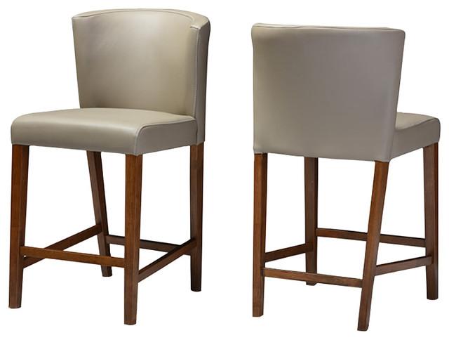 Groovy Olivia Modern Faux Leather Pub Stool Set Of 2 Walnut Dark Brown Bralicious Painted Fabric Chair Ideas Braliciousco