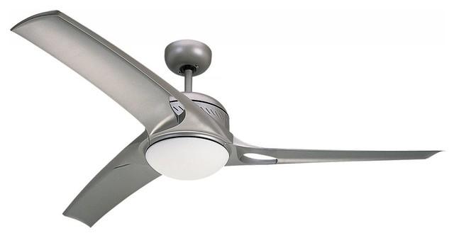 One Light Nickel Ceiling Fan.