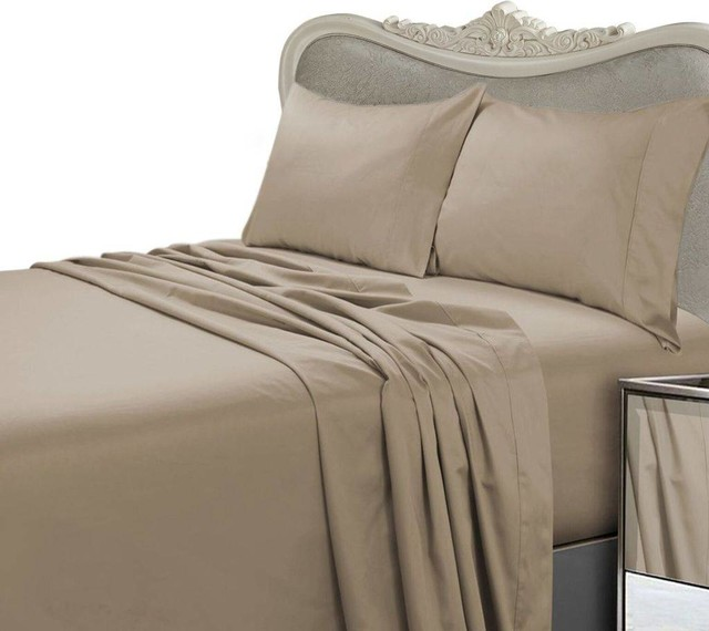 Taupe Striped Deep Pocket Bed Sheet Set 1000 Count 100/% Egyptian Cotton Sheet