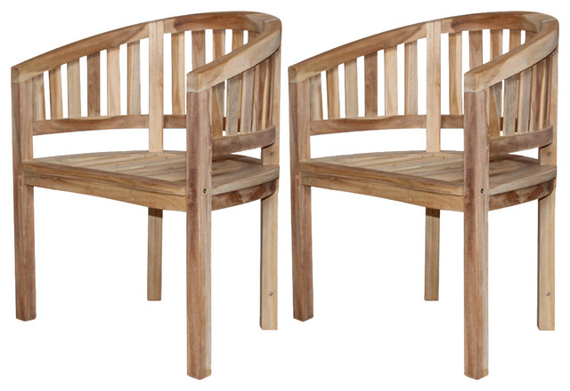 Vidaxl Banana Chairs 2 Pcs Solid Teak Wood Transitional Outdoor Dining By