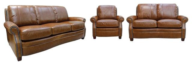 Ashton Leather Sofa Set 3 Piece Set Traditional