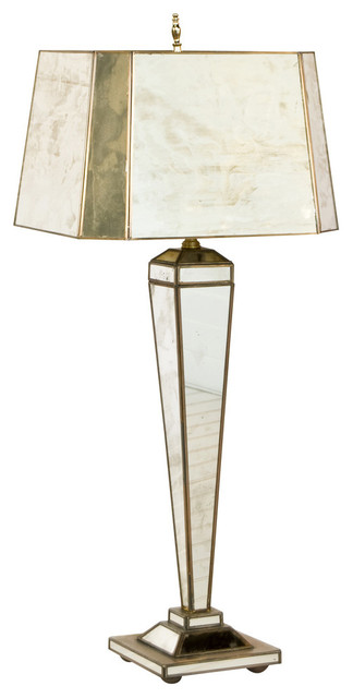 Hilton antique style mirror lamp with rectangle shade transitional hilton antique style mirror lamp with rectangle shade aloadofball Choice Image