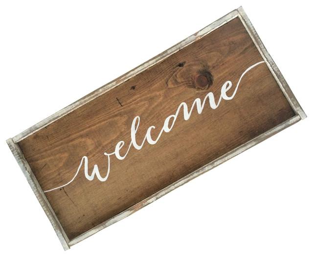 """welcome"" Handmade Wooden Sign, 13""x6""."