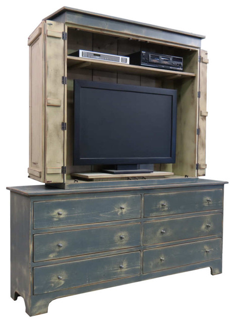 """Blue Grey 48"""" Fairfield TV Cabinet with 72"""" Dresser - Eclectic - Dressers - Houston"""