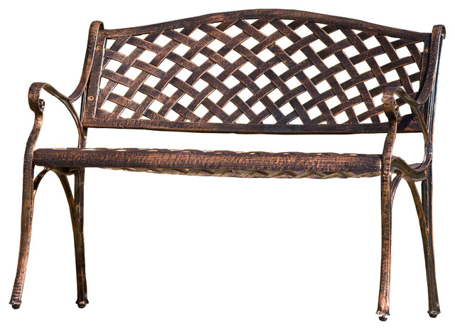 Eastwood Cast Aluminum Garden Bench Antique Copper Traditional