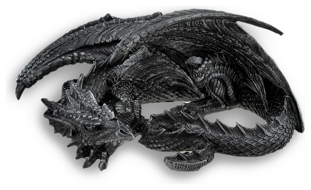 Somasaurus Metallic Black Gothic Sleeping Dragon Statue 12 in