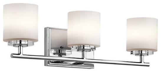New 3 Light Bathroom Vanity Lighting Fixture Chrome: Kichler O Hara 3-Light Bathroom Lighting Fixture, Chrome